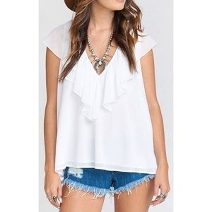 Show Me Your Mumu • Easton Ruffle Top in White